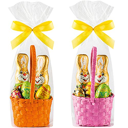 Riegelein Fairtrade Milk Chocolate Bunnies with Eggs and Ladybug Easter Basket - Set of 2 (Pink and Orange - 1 of each Color)