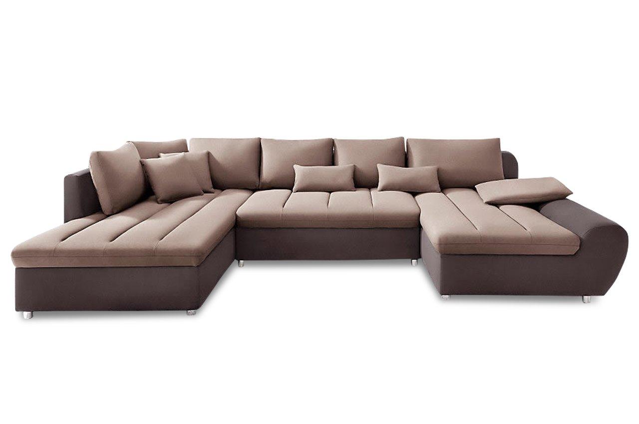 Sofa Sit More Wohnlandschaft Bandos Xxl Flachgewebe Braun Beige