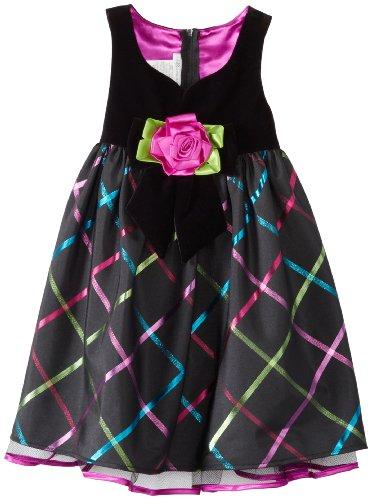 Bonnie Jean Little Girls' Sweetheart Neckline Taffeta Plaid Dress, Black, 6