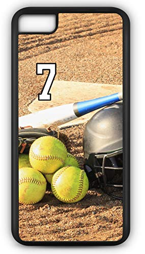 iPhone 7 Case Softball S121Z Choice of Any Personalized Name or Number Tough Phone Case by TYD Designs in Black Plastic and Black Rubber with Team Jersey Number 7