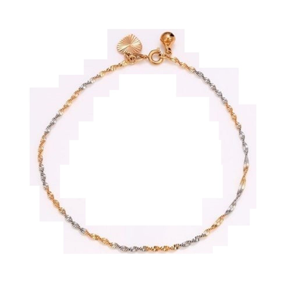 9ct 9k Yellow & WhiteGold Plated Ladies Girls Twisted ANKLE CHAIN , Bell ANKLET . 10.6 Gift Bell ANKLET . 10.6 Gift xuping
