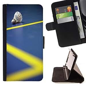 King Art - Premium-PU-Leder-Prima caja de la PU billetera de cuero con ranuras para tarjetas, efectivo Compartimiento desmontable y correa para la mu?eca FOR HTC Desire D816 816 d816t- Badminton Sport