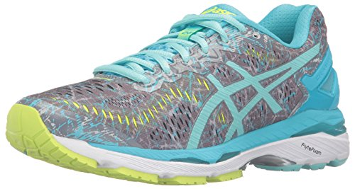 ASICS Women's Gel-Kayano 23 Running Shoe, Shark/Aruba Blue/Aquarium, 9 M US - Aruba Blue Apparel