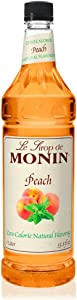 Monin - Zero Calorie Natural Peach Syrup, Fresh and Juicy Flavors, Great for Iced Teas, Lemonades, and Sodas, Vegan, Non-GMO, Gluten-Free (1 Liter)