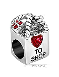 JMQJewelry Heart Love to Shop Girl Friend Together Birthstone Charm Beads for Charms Bracelets