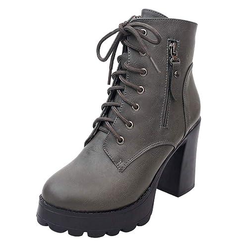 Tenthree Tobillo Botas Tacón Grueso Botines Mujer - Mujeres Cuero Bloque Alto Tacón Botines Grueso Botas Plataforma Ante Cordones Antideslizante Zapatos ...