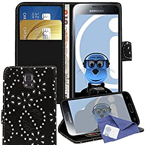 iTALKonline Samsung Galaxy S5 SV Mini Black PU Leather Executive Multi-Function Wallet Case Cover Organiser Flip with Credit / Business Card Money Holder Integrated Horizontal Viewing Stand and 3 Layer LCD Screen Protector