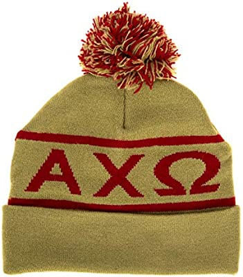 90bcd17beb8 Amazon.com   Alpha Chi Omega Sorority Letter Winter Beanie Hat Greek Cold  Weather Winter - New Colors AXO   Everything Else