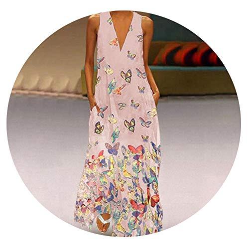 Butterfly Print Maxi Dress Women Sexy Sleeveless Long Summer Pocket Elegant White Dresses,03 Pink,M
