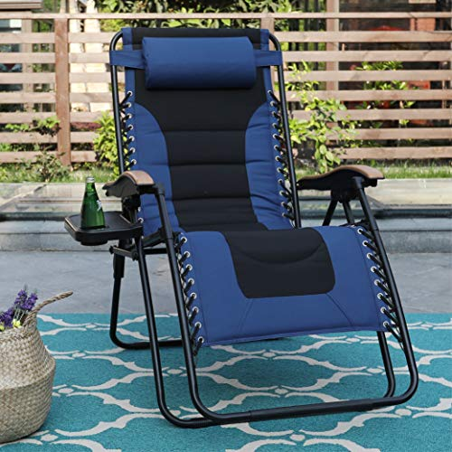 PHI VILLA XL Zero Gravity Chair Padded Recliner Oversize Lounge Chair with Free Cup Holder (Blue)