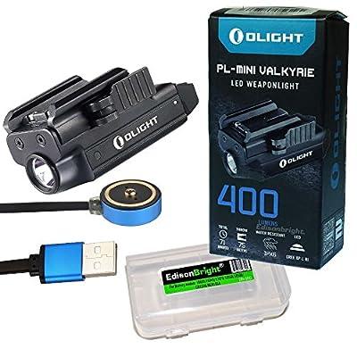 Olight PLMINI (PL MINI) 400 Lumen Magnetic USB Rechargeable Pistol Light with EdisonBright charging cable carry case