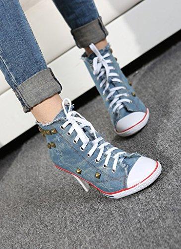 heeled Jiye Sneaker High Women's blue Canvas Shoes Fashion Pump D rtHqgtn