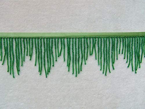 "Beautiful 3"" Wide Emerald Green All Glass Beaded Fringe Trim ~ Lampshades ncKE -152"