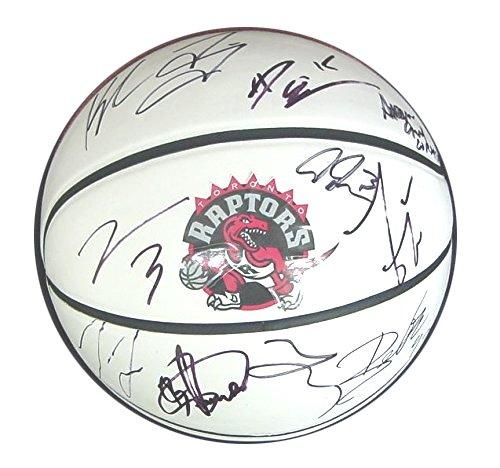 Toronto Raptors 2014-15 Team Autographed Signed White Panel Basketball DeRozan (Team Floor Signed)