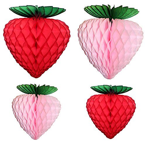 Set of 4 Assorted Honeycomb Tissue Paper Strawberry Decorations, 10 inch and 8 inch, Red and -
