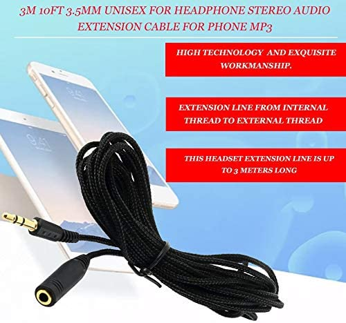 AdaAda 3m 10ft 3.5mm Unisex for Headphone Stereo Audio Extension Cable for Phone MP3 Black