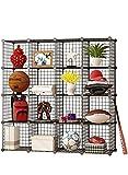 MAGINELS Wire Cube Storage Customizable Metal Shelving Unit Bookcase DIY Closet Organization System, 16 Grids Black