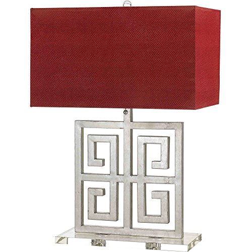 Af Lighting Lamp Table Silver (Horizon Santorini Table Lamp Silver Red Shade)