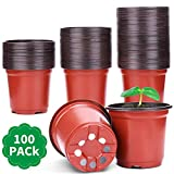 """Nursery Pot, PEYOU 100 Pack 4"""" Plastic Pots Nursery Pots, Flower Seedlings Garden Supplies Plant Pot, Flower Plant Container, Seed Starting Pots for Indoor and Outdoor Plants"""