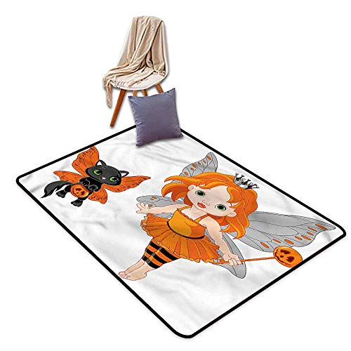 Kids Rug,Halloween Baby Fairy and Her Cat,Rustic Home Decor,4'7
