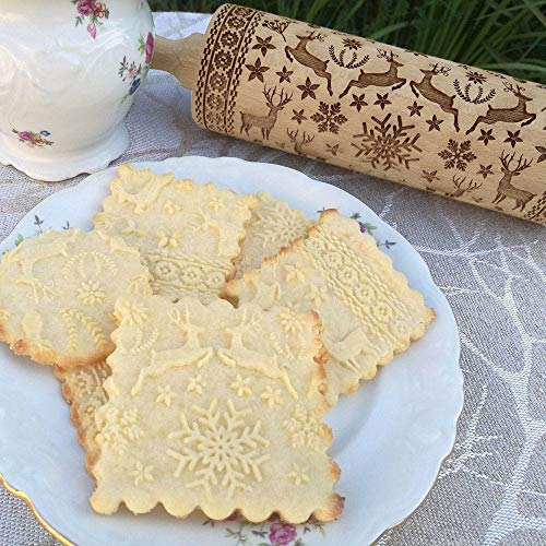 Christmas Wooden Rolling Pins Engraved Carved Embossed Rolling Pin with Christmas Symbols for Baking Embossed Cookies Kitchen Tool (38X4X4cm Elk&Snowflake)