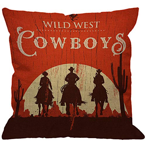 HGOD DESIGNS Cowboy Throw Pillow Cover,Vintage Western Cowboys Riding Horses Wooden Sign Rural Ranch Desert Sunset Decorative Pillow Cases Linen Square Cushion Covers for Home Sofa Couch 18x18 inch