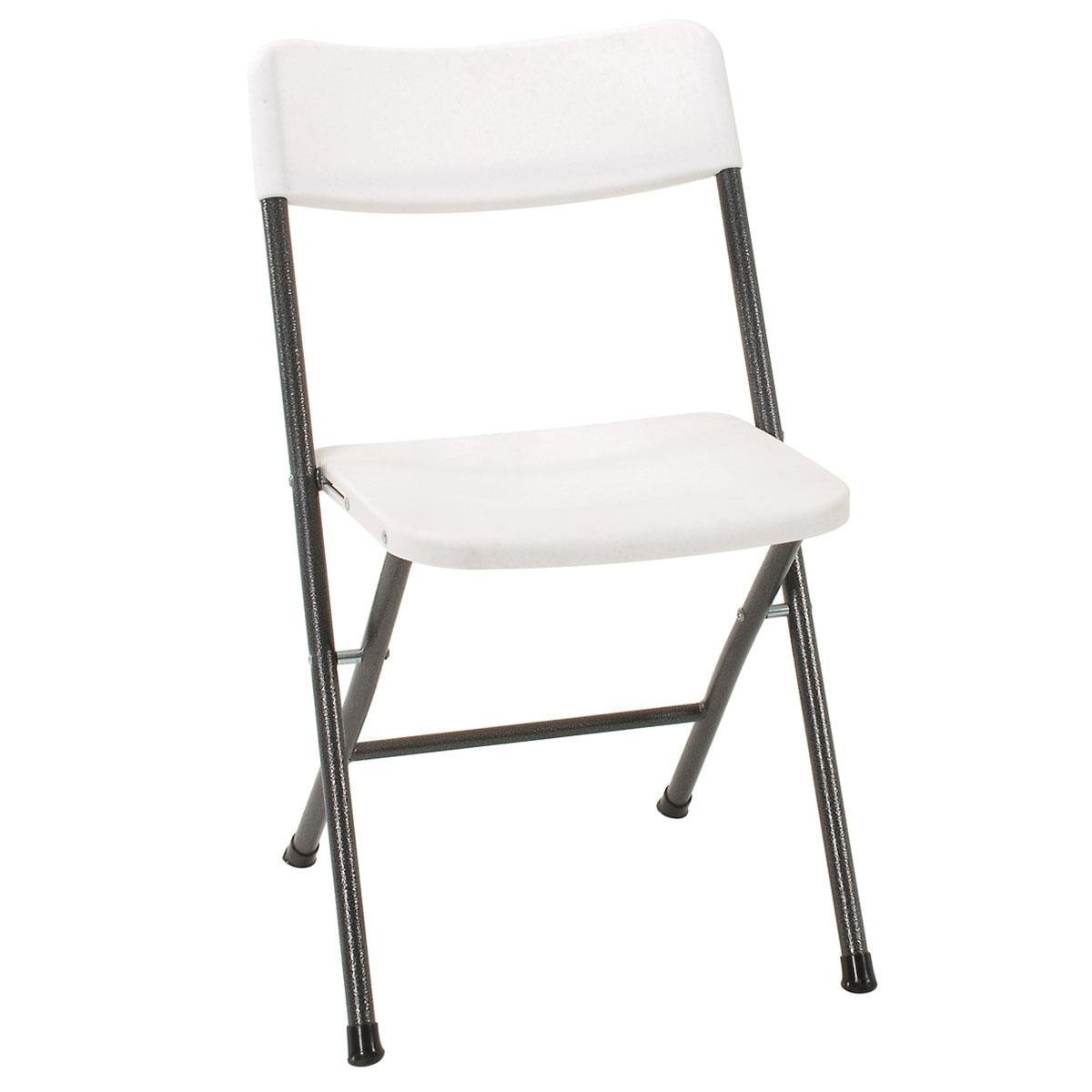 Cosco Resin Folding Chair with Molded Seat and Back White Speckle, 4-Pack