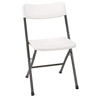 Cosco 37825WSP4E Resin Folding Chair with Molded Seat and Back, 4 Pack, White/Pewter