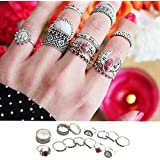 Sumanee 14PCS/set Vintage Punk Finger Ring Boho Style Silver Plated Geometry