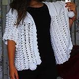 Handmade Crochet White Cardigan, Chunky Jacket, ready to ship, fast shipping