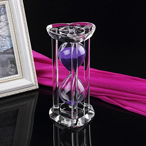 Hourglass Sand Timer 30 Minute Circular Crystal Creative Sand Timer for Kitchen, Office, School and Decorative Use - Finish with Real Beach Sand (Purple Sand Beach)