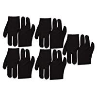 Black Stretch Velvet 3 Fingers Gloves For Billiard Cue Pool Pack Of 10