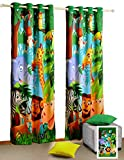 Shalinindia Jungle Animals Door Curtains – Set of 2 Curtain Panels for a Baby Nursery or Toddler or Kids Bedroom – 48″ x 84″ panels – 70% semi blackout Poly Satin Fabric Review