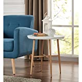 Handy Living Miami White Round End Table with Light Oak Metal Legs
