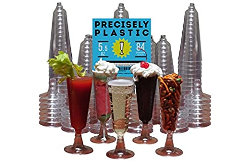 Champagne Flutes Premium 5.5 oz Clear Plastic Disposable 84 ct VALUE PACK, Perfect for Mimosas, Bloody Mary's, Wine Glasses, Sodas, Cocktail Cups, Parfaits, Sundaes and other Desserts