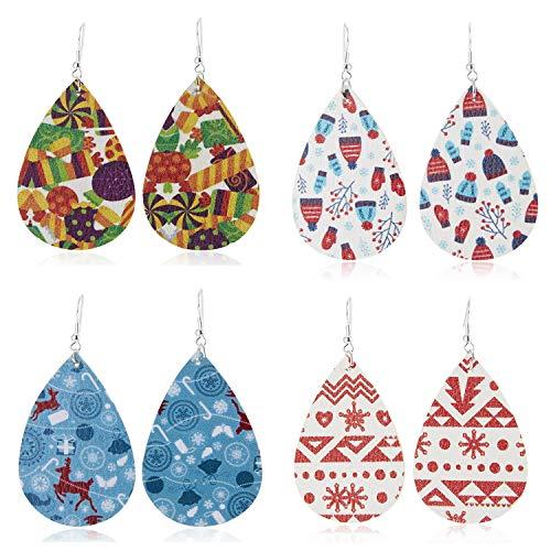 UHIBROS Christmas Dangle Drop Earrings for Women Teardrop Petal Earrings Lightweight Xmas Party Costume Decoration Earrings Set