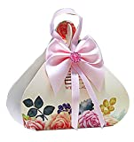 autulet Large National Wedding Box With Pink Ribbon And Printed Flowers Creative Gift Bags Bride Box 50 Pieces (Candies or chocolates not included)