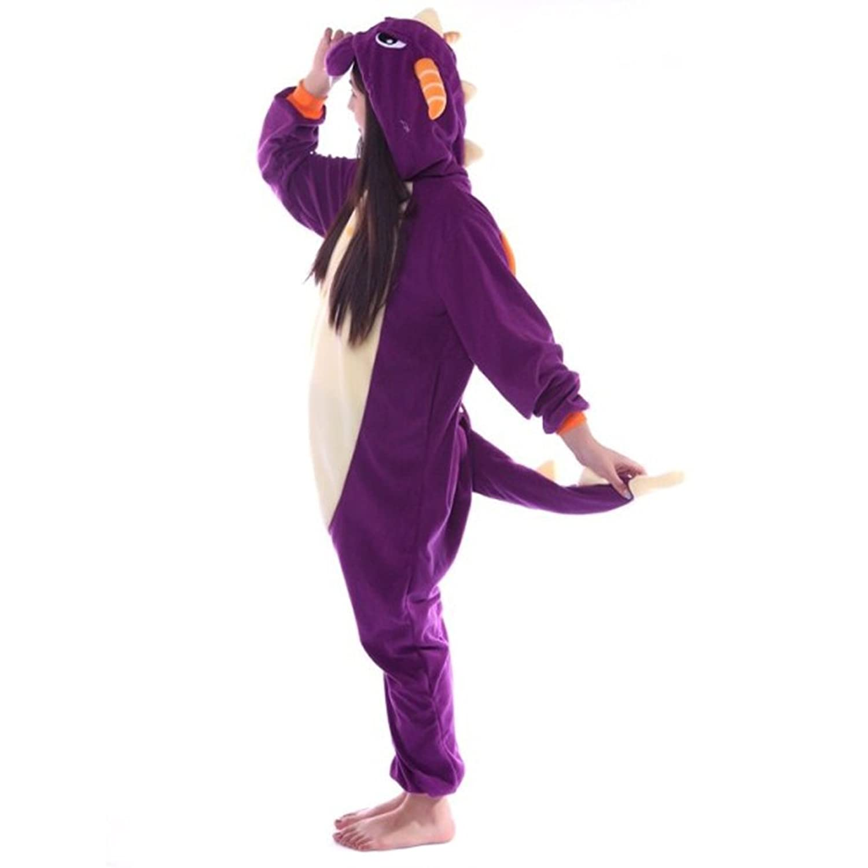 Sexbabay Men Women Hooded Animal Dragon Design Onesies Nightwear All-In-One Soft Jumpsuit Pyjamas