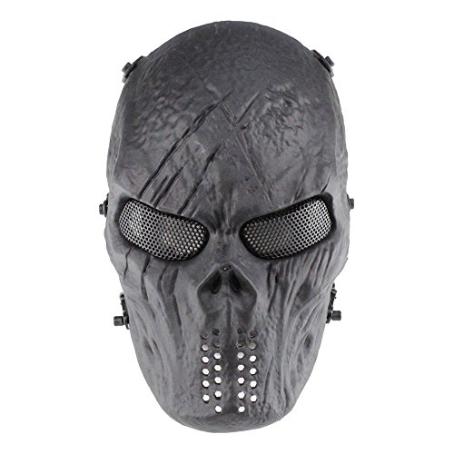 Pawaca Full Face Skull Mask, Halloween Airsoft Protective Zombie Skeleton Mask,Scary Ghost Devil Horror Mask for Biker Cosplay Costume Party Movie Prop Paintball BB Airsoft Gun CS Game Shooting