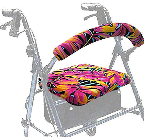 (Crutcheze Hawaiian Tropical Leaves Rollator Walker Seat and Backrest Covers Designer Fashion Accessories Made in USA)