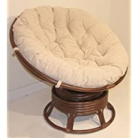 Papasan Swivel Chair Natural Rattan EXTREMELY COMFY ECO Handmade w/ Cream Cushions, Dark Brown