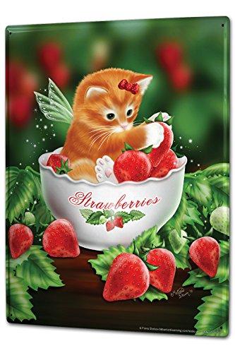 Tin Sign XXL Fun Ravtive Cat wing strawberries (Wings Sign Tin)