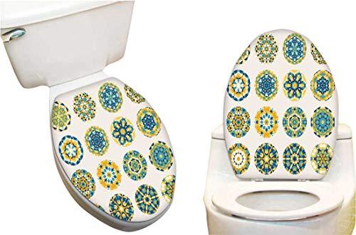 Waterproof Decorative Toilet Cover Stickers Sixteen Roun Blue Yellow m dala Kaleidoscope Ornaments Circles Design Elements Toilet Seat Sticker Decoration15 x17