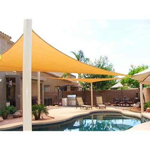 BIG 20u0027x20u0027x20u0027 Oversized Triangle Garden Patio Sun Sail Shade 20 Ft ,  Color Desert Sand