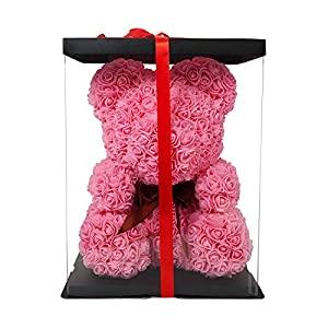 """Sxfcool The Rose Bear Teddy Bear Cub Pink Forever Artificial Rose Anniversary Christmas Valentines Gift 14"""" 50"""