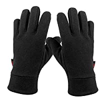 OZERO Windproof Warm Gloves Winter Glove Liners Thermal Polar Fleece - Hands Warmer in Cold Weather for Men and Women Black/Gray