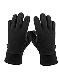 OZERO Windproof Warm Gloves Winter Thermal Glove Liners with Insulated Polar Fleece - Hands Warmer in Cold Weather for Women and Men Gray/Black