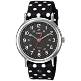 Timex Women's TW2R63000 Weekender Reversible Black/White Dots Nylon Slip-Thru Strap Watch