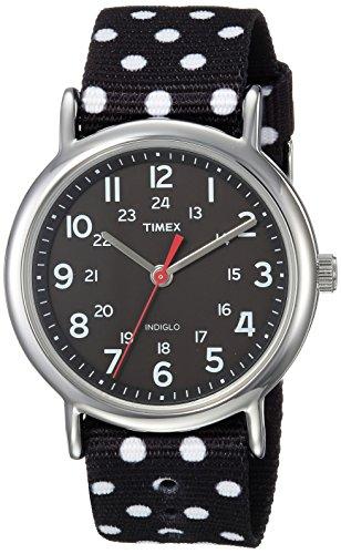 Timex Women's TW2R63000 Weekender 38 Reversible Black/White Dots Nylon Slip-Thru Strap Watch