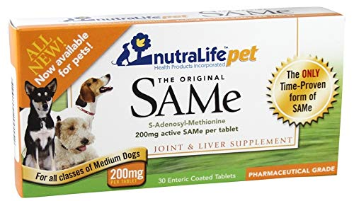 NutralifePet SAM-e (S-adenosylmethionine) 200 Mg 60 Enteric Coated Tablets (2 Boxes of 30) - Liver Detox & Joint Support (Tabs Liver 200)